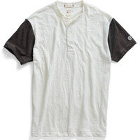 Short Sleeve Blocked Henley in Antique White
