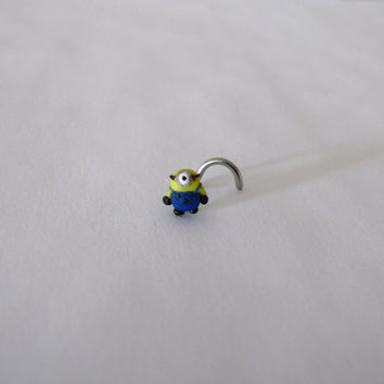 Despicable me inspired polymer clay minion nose ring