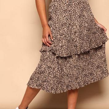 Purrfect Ruffle Midi Skirt