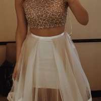 Two Piece Long Chiffon Homecoming Dress