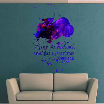 kcik1742 Full Color Wall decal poster space Watercolor paint splashes Alice in Wonderland Cheshire cat quote children's room