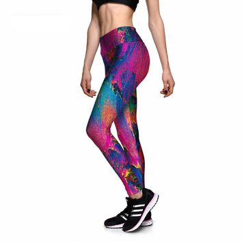 Leggings Sexy Women's Pretty Color Abstract Painting 3D Print PANTS Women High Waist Pants Trousers Fitness Top Sales