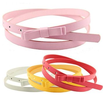 ESBU3C Bluelans Women's Candy Color 2 Layers Bowknot Thin Narrow Belt PU Leather Waistband Strap