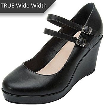 Luoika Womens Wide Width Wedge Shoes  Mary Jane Ankle Buckle Double Strap Round Closed Toe Heel Pump