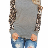 Leopard Sleeves Casual Blouse (Multiple Colors)