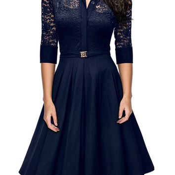 Blue Turn-Down Collar Lace Spliced Dress