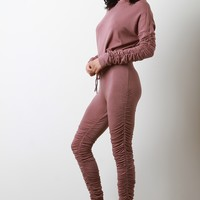 Ruched Crewneck Sweater with High Waisted Pants Set