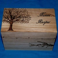 Decorative Wood Recipe Card Box Wood Burned Box Wedding Tree Personalized Love Birds