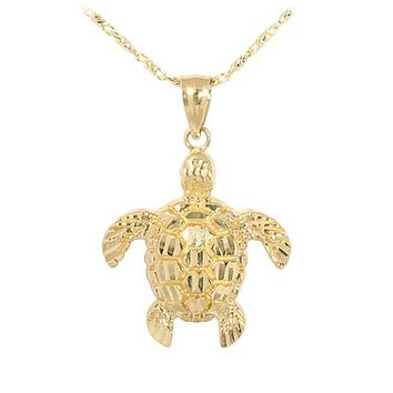 Yellow Gold Turtle Pendant(S, M)