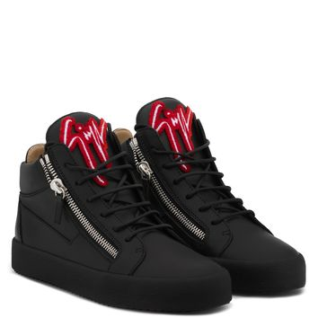 Giuseppe Zanotti Gz Kriss Black Calfskin Leather Mid-top Sneaker With Red And White Logo