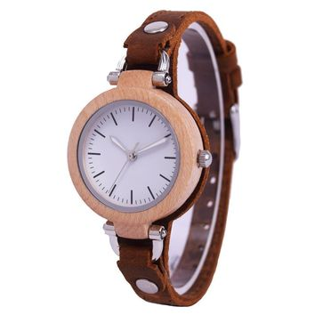Small Wood Watch Women Wristwatches With Genuine Leather Bamboo Wooden Watch Ladies Casual Quartz Female Best Clock