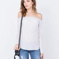 Lined Up Off-the-Shoulder Top