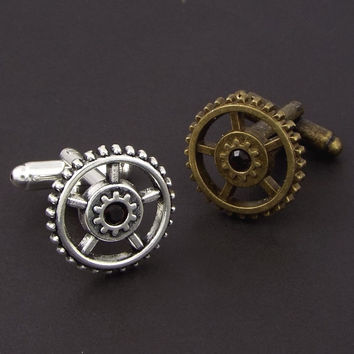 Steampunk Gear Cufflinks - Silver or Bronze Tone, Made with Swarovski® Elements Rhinestone