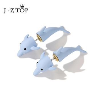 JZTOP Creativity Double Sided Ear Studs Earrings Pink Blue Dolphin Animal  Ear Studs Punk Parties Fashion Jewelry