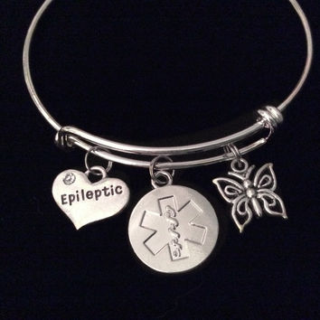 Epileptic Medical Alert Expandable Charm Bracelet Butterfly Adjustable Bangle Gift Epilepsy