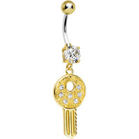 925 Sterling Silver Gold Plated Clear Gem Car Key Dangle Belly Ring | Body Candy Body Jewelry