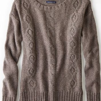 AEO Women's Cable Beaded Sweater (Dark Heather Grey)