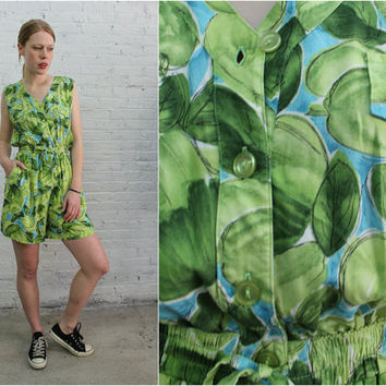 tropical sleeveless romper / papaya fruit print sleeveless shorts one piece jumpsuit / green playsuit