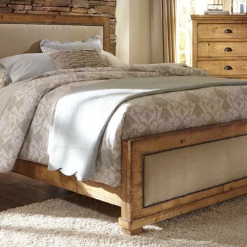 Willow Casual King Upholstered Complete Bed Distressed Pine