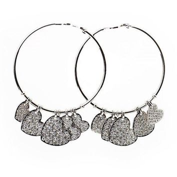 LMF3DS Dior Gold Diamond Pave Dangling Heart Hoop Earrings