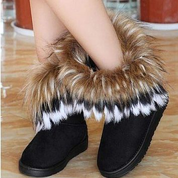 Winter Warm snow boots artificial fur leather tassel women's shoes