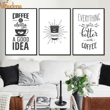 Minimalist Kitchen Coffee Decorative Prints on Canvass