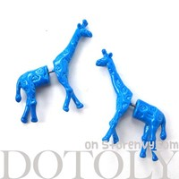 3D Fake Gauge Realistic Giraffe Animal Stud Earrings in Blue