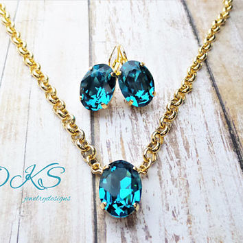 Swarovski Jewelry Set, Bridal,  Oval, Pendant, Blue, Gold, Lever Backs, Jewelry Gifts, Solitare, Crystal, DKSJewelrydesigns, FREE SHILPPING