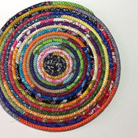 Multi Color Coiled Rope Trivet, Fabric Hot Pad, Rope and Fabric Mat, Quiltsy Handmade