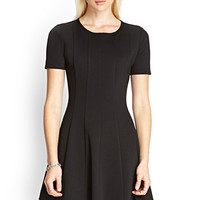 FOREVER 21 Paneled Skater Dress Black