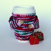 Christmas coffee cozy. Secret Santa gift. Travel mug cozy. Knit mug hug. Cup sleeve. Office coffee.  Ugly sweater. Starbucks cup holder