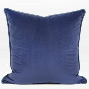 """Midnight Blue Solid Color Flannel Fabric Pillow 20""""X20"""""""