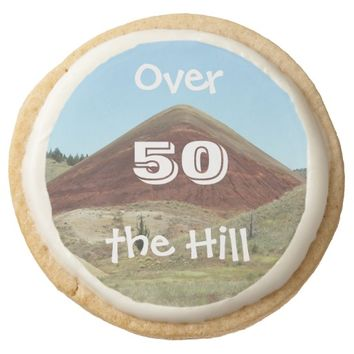 Over the Hill 50th Birthday Round Premium Shortbread Cookie
