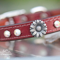 Leather Concho Dog Collar Flower Crystal Dog Collar by DogGoneNice