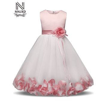 Fairy Petals Baby Girl Christening Wedding Gown Little Girl First Birthday Dresses Tutu Toddler Girl Party Clothes Infant 2 Year