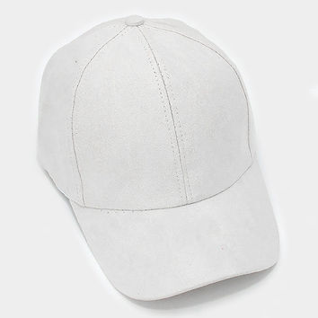 Ivory Faux Suede Baseball Cap With Velcro Closure, One Size Fits All, Unisex Gift Idea