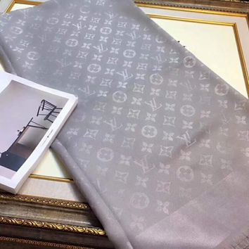 Louis Vuitton Trending Women Grey Print Easy to match Silk Scarf G-XLL-WJ