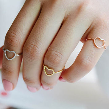 open heart knuckle ring, heart pinky ring in gold, silver or rose gold