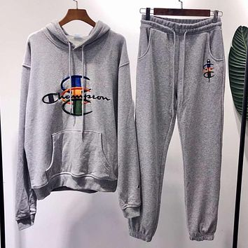 Champion Trending Women Men Stylish Embroidery Hoodie Top Sweater Pants Trousers Set Two-Piece Grey