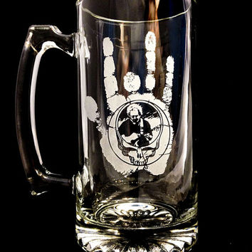 Grateful Dead etched Beer Mug