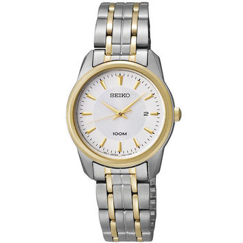 Seiko SXDE68 Women's Silver Dial Two Tone Gold Plated Stainless Steel Bracelet Watch
