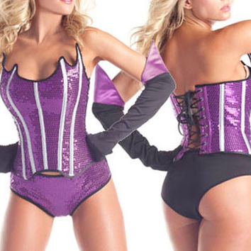 Strapless Sequined Lace Up Back Hero Costume