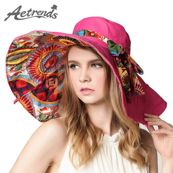 [AETRENDS] 2017 Fashion Design Flower Foldable Brimmed Sun Hat