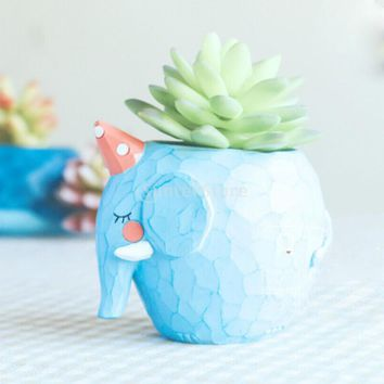 Resin Elephant Shape Cacti Succulent Herb Planter Flower Bed Pot Box Home Cafe Decor