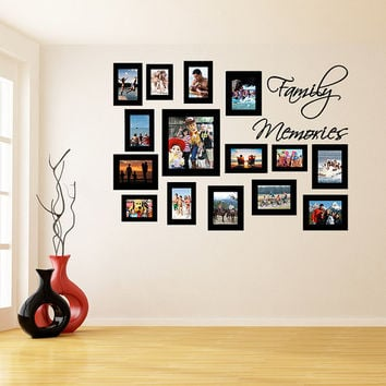 Vinyl Wall Decal Picture Frames Design / Family Memories Photos Art Decor Sticker / Photo Frame Removable Stickers + Free Random Decal Gift!