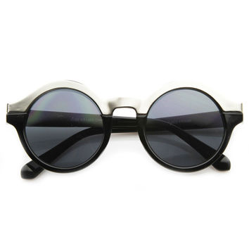 ALEXA TECH ROUND FRAME SUNGLASSES - BLACK