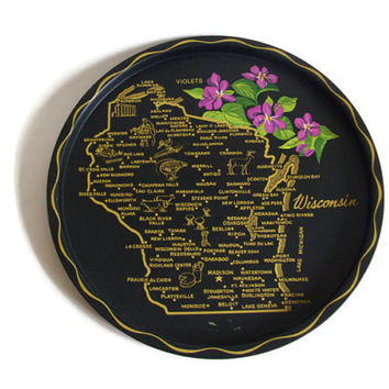 Vintage Souvenir Tray, Wisconsin State and Cities, Tin Metal Serving Tray, State Flower, Black, Map