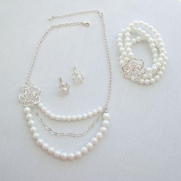 Nancy and Rise Pearls Rhinestones Set Necklace Bracelet Earrings Wedding Jewelry
