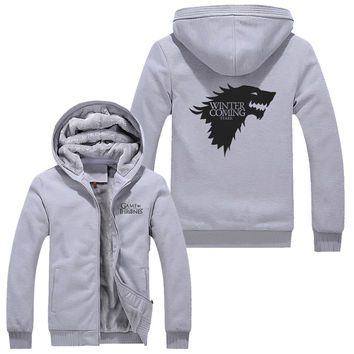 Gray A Song of Ice and Fire Zip Hoody Game of Thrones Black Hooded Jacket House Stark Thick Coats  Unisex plush Sweater  hoodie