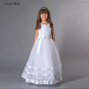 Elegant White Lace Ball Gown Holy First Communion Dresses for Girls With Bow Flower Girl Dresses Corset Back